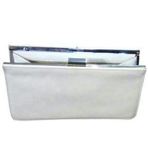 Giani Bernini White genuine leather clutch